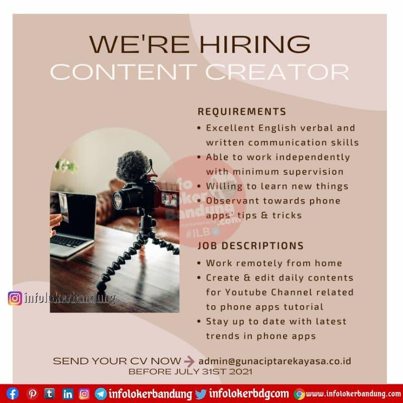 Lowongan Kerja Content Creator  PT. Guna Cipta Rekayasa ( Baju Yuli ) Bandung Juni 2021