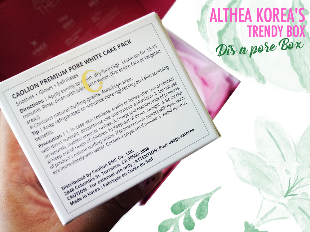 Caolion Premium Pore White Cake Pack-Althea-Box