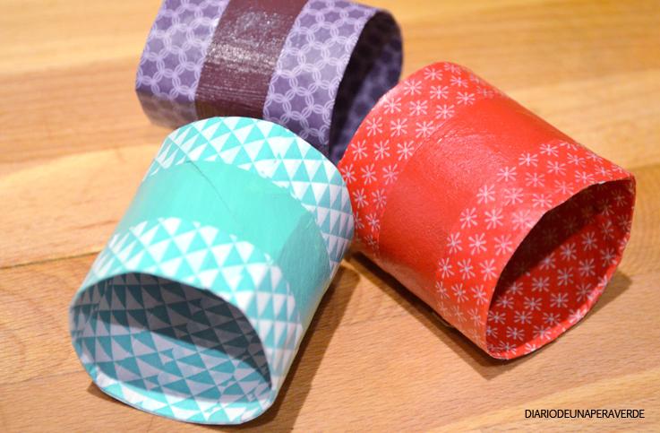 rollos de papel higinico o de cocina washitape y pintura para decorar tijeras cola blanca pinceles