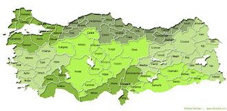 Yeşil ve yeşilin tonlarında Türkiye İller ve Bölgeler Haritası