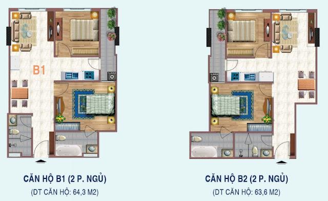 Mặt bằng căn 2 ngủ chung cư Liễu Giai Tower