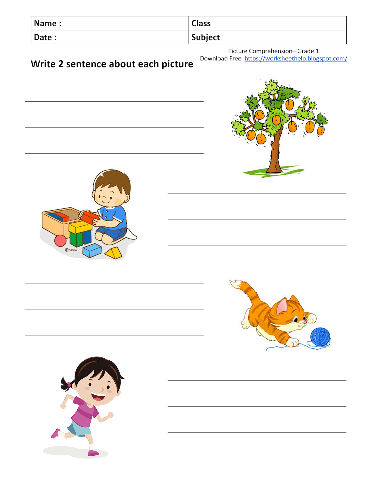 Picture Composition Worksheet Grade 1