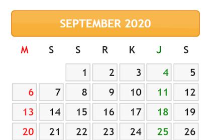 KALENDER BULAN SEPTEMBER TAHUN 2020