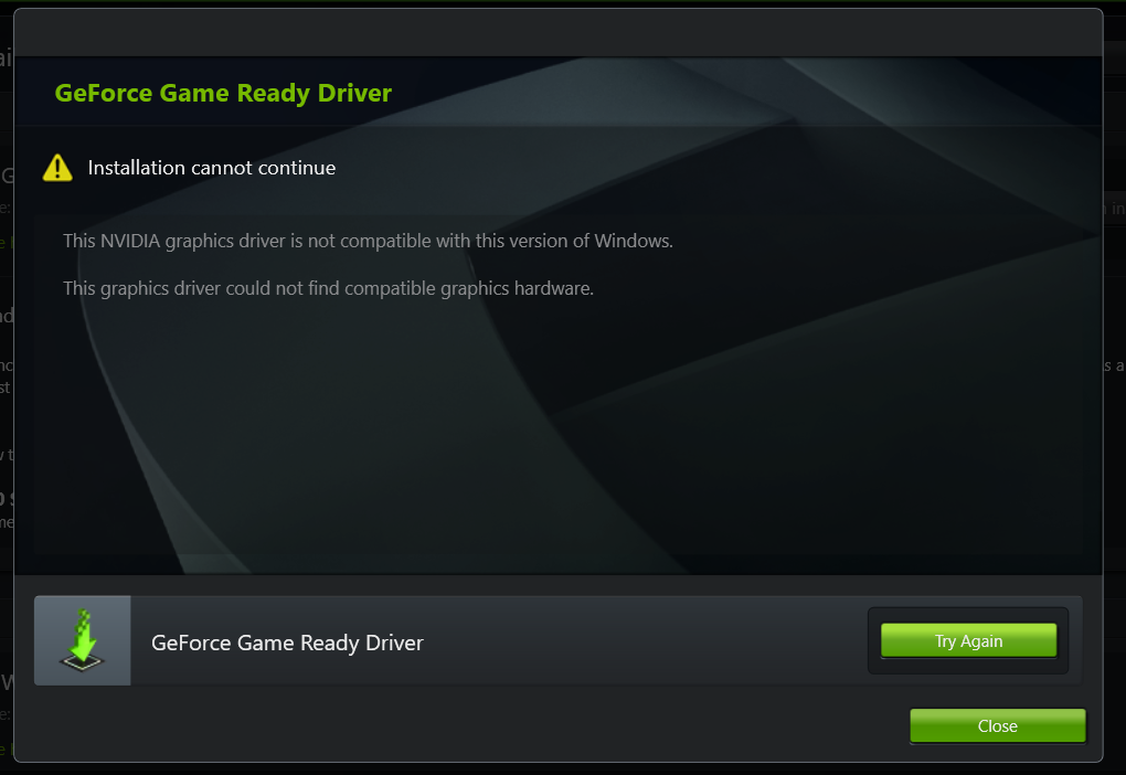 nvidia graphics driver cannot continue