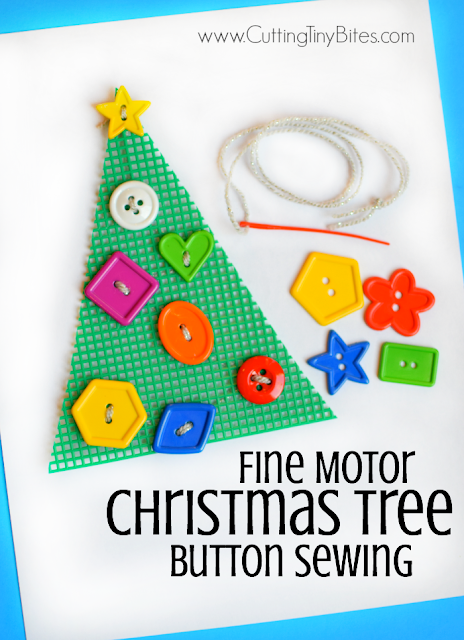 http://www.cuttingtinybites.com/2016/12/christmas-treeChristmas Fine Motor Button Sewing Activity. Preschoolers, kindergartners, and elementary kids will enjoying making a cheery Christmas tree while developing fine motor skills! Easy prep!-fine-motor-button-sewing.html