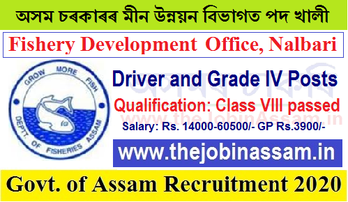District Fishery Dev. Officer, Nalbari Recruitment 2020