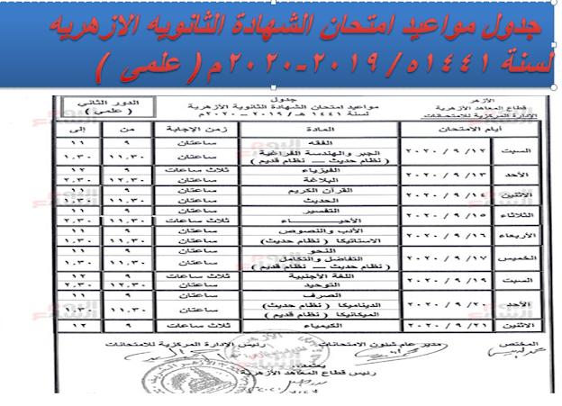 مواعيد امتحانات  الازهرية الدور الثانى للعام 2019 /2020