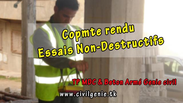 Essais NON-DESTRUCTIFS compte rendu TP beton armé génie civil PDF