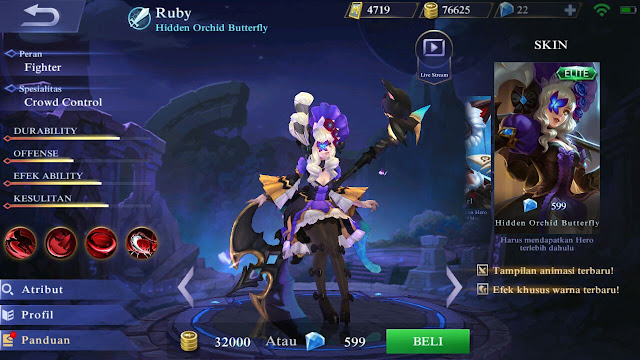 Ruby, Jenis Hero Dalam Game Mobile Legends