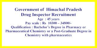 Drug Inspector Recruitment - Government of  Himachal Pradesh