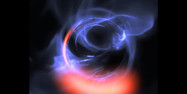 ESO's exquisitely sensitive GRAVITY instrument has added further evidence to the long-standing assumption that a supermassive black hole lurks in the centre of the Milky Way. New observations show clumps of gas swirling around at about 30% of the speed of light on a circular orbit just outside a four million solar mass black hole — the first time material has been observed orbiting close to the point of no return, and the most detailed observations yet of material orbiting this close to a black hole.  This visualisation uses data from simulations of orbital motions of gas swirling around at about 30% of the speed of light on a circular orbit around the black hole.  Credit: ESO/Gravity Consortium/L. Calçada