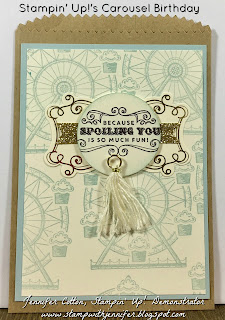 This card uses Stampin' Up!'s Carousel Birthday stamp set.  It also uses: Gold Glimmer Paper, Cupcakes & Carousels Embellishment Kit, and a Stamping Sponge!!  #staminup #stamptherapist www.stampwithjennifer.blogspot.com