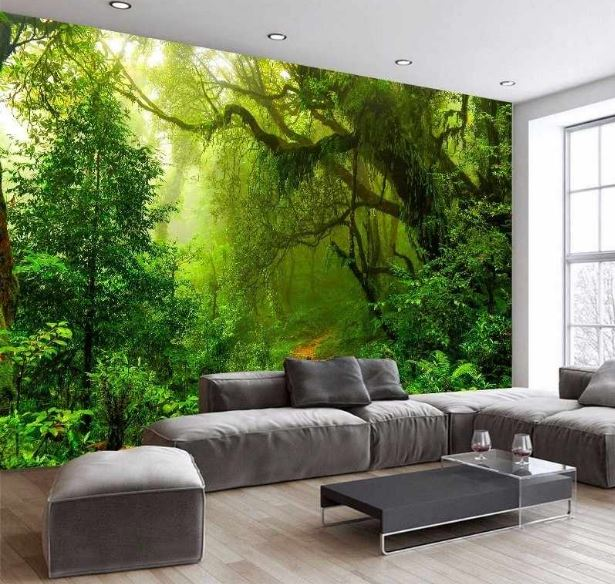 Wallpaper 3D Tropical Forests Waterfall Trees Jungle Nature Modern Abstract Art Wall Sticker Living Room