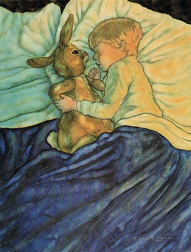 Boy sleeping with his velveteen rabbit. Illustration by Michael Hague.