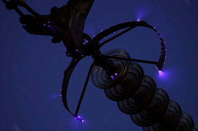 corona discharge on corona ring of 500 kV overhead power line