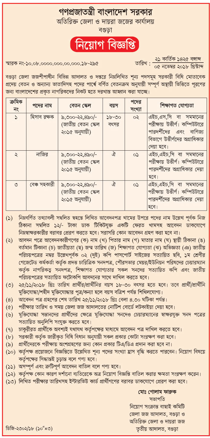 Additional District and Sessions Judge's Office, Bogra Job Circular 2018