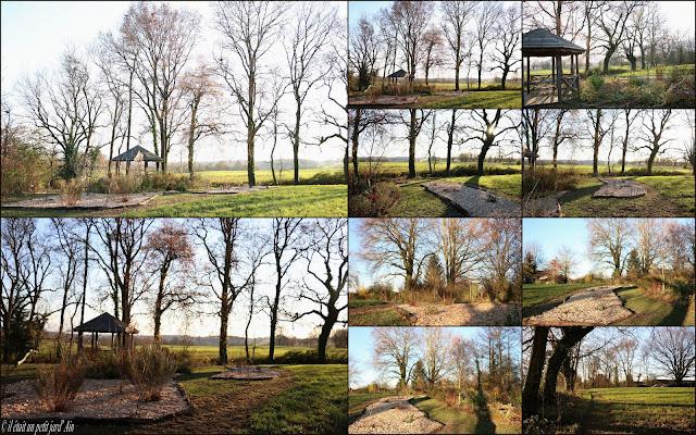 gloriette en bois et ses massifs 2016