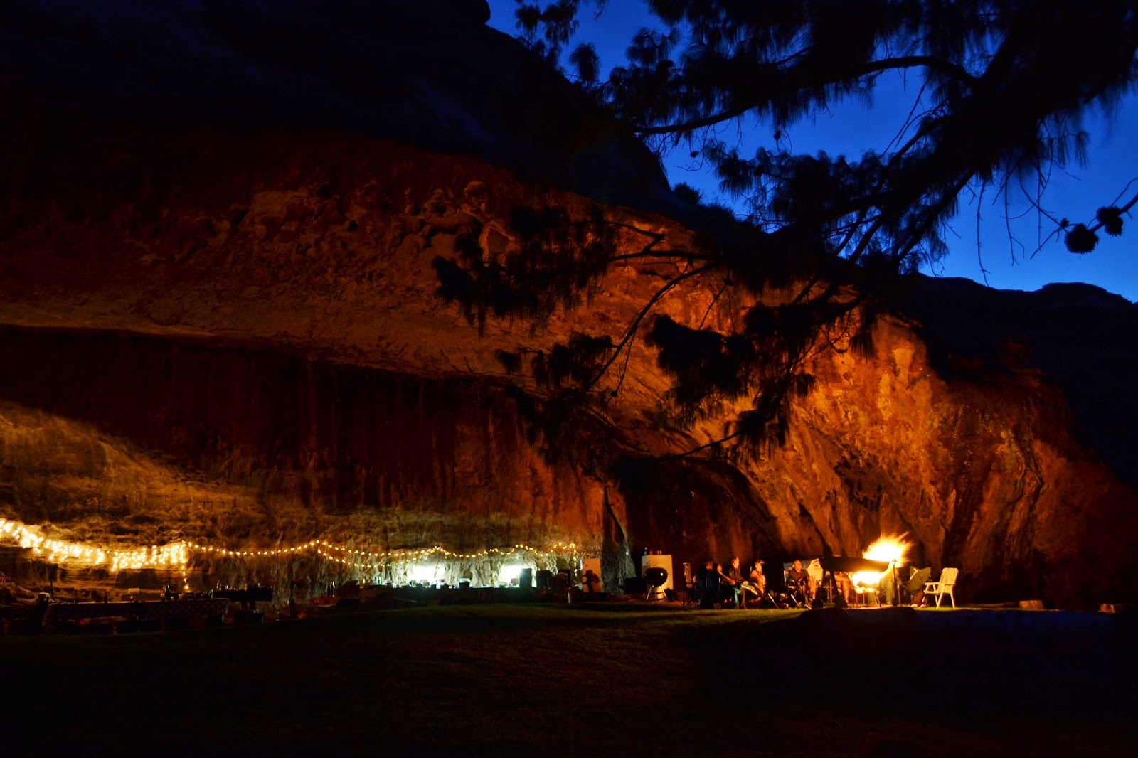 Big cave lit by fairy lights