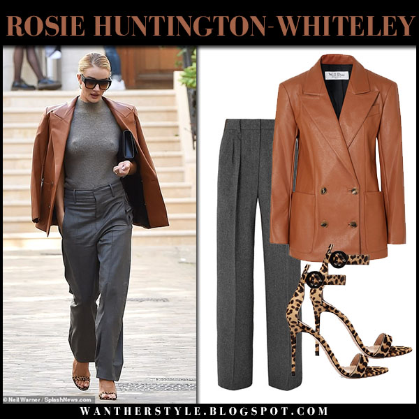 Rosie Huntington-Whiteley in brown leather we11done blazer, grey pants and leopard sandals gianvito rossi fashion week outfit september 26