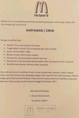 Lowongan McDonalds Malang Terbaru