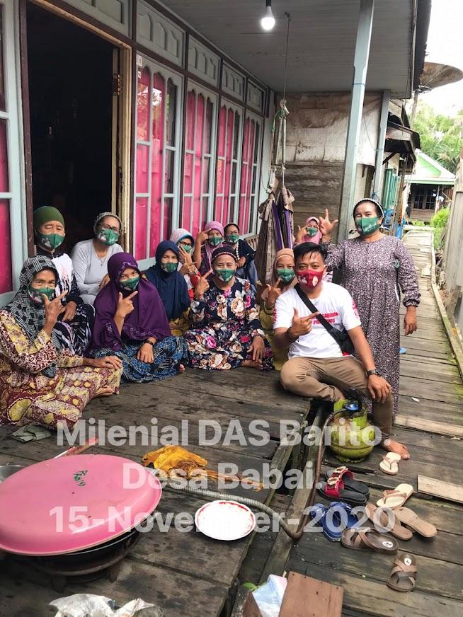 Menangkan Sugianto - Edy, Relawan Milenial DAS Barito Bersaudara Blusukan Door To Door di Desa Babai