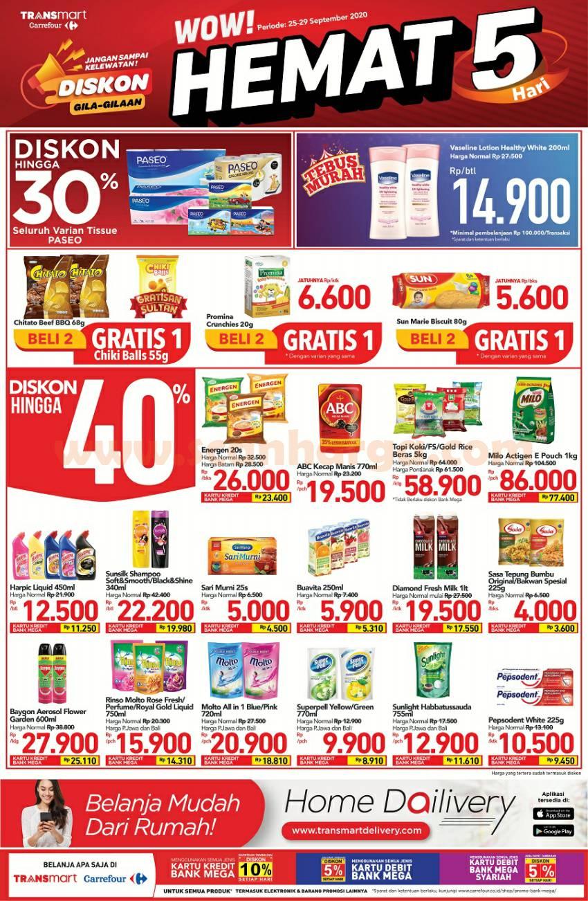 Transmart Carrefour Promo Mingguan WOW HEMAT! Periode 25 - 29 September 2020