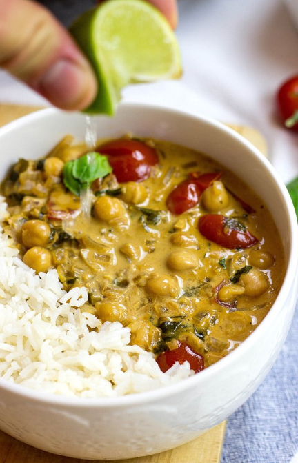 Vegan Chickpea Curry. Our awesome vegan take on the insanely popular dish. Ridiculously tasty and nutritious - just look at all that protein, fibre and iron