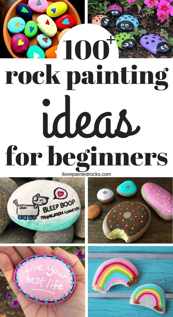 More than 100 Rock Painting Ideas for people who want to get started making painted rocks.