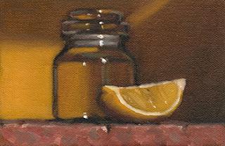 Still life oil painting of a small glass jar beside a lemon quarter.