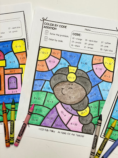 Diwali Color By Number Addition worksheet girl photo