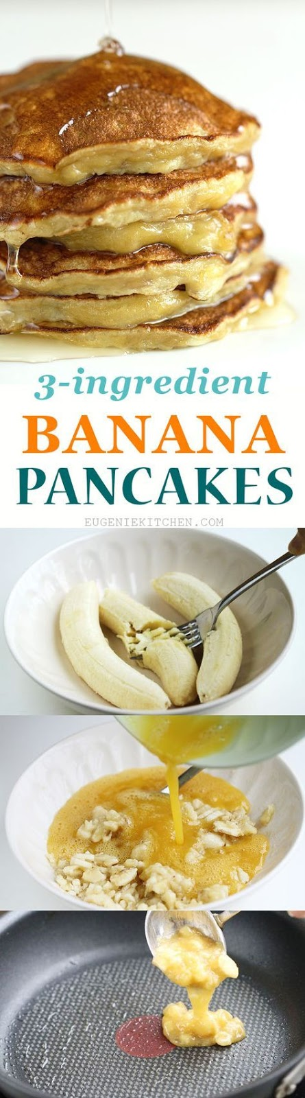 3-Ingredient Banana Pancakes Glueten-Free, Flourless, Low-Calorie - Healthy Recipes