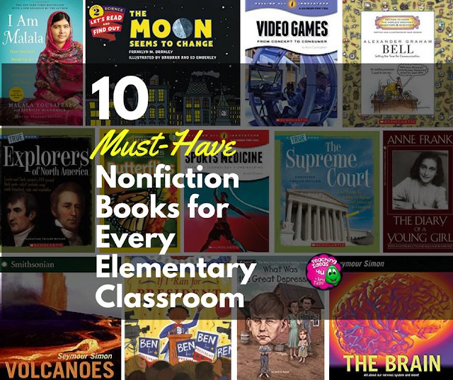Discover ten must-have nonfiction books and series for every elementary classroom!  Post focuses on books for elementary and middle school students. Post summarizes each book and provides the target age range for the book or series.
