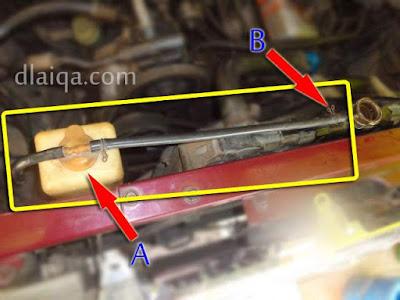 pasang kembali reservoir (A) dan selangnya (B)
