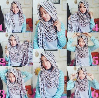 Tutorial hijab pashmina sifon motif simple