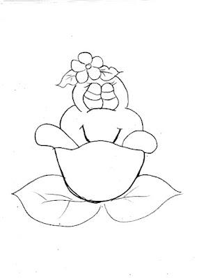 risco de sapinha dentro de uma flor para pintar