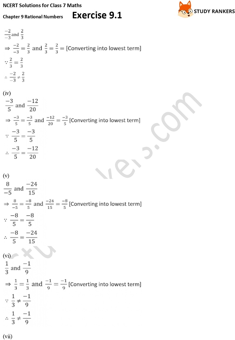 NCERT Solutions for Class 7 Maths Ch 9 Rational Numbers Exercise 9.1 6