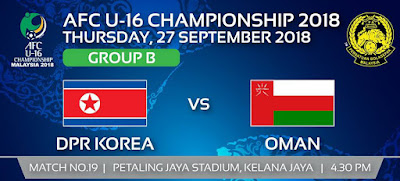 Live Streaming North Korea vs Oman AFC U16 27.9.2018