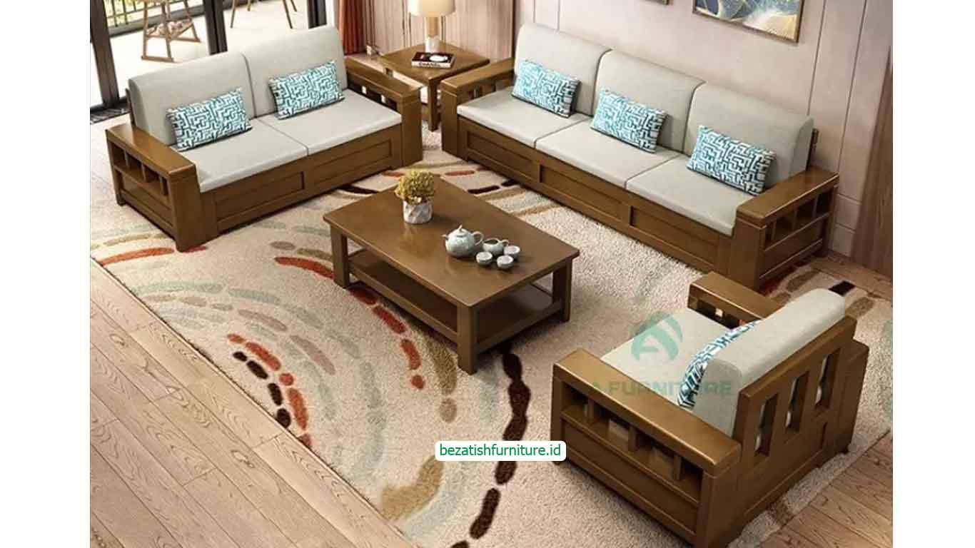 Kursi tamu sofa kayu minimalis