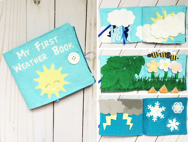 My First Weather Book Busy Book, Quiet Book, Fabric Book, No Screen Activity For On The Go to Teach Fine Motor Skills, Lift Flaps, Tactile Development, Sun, Rain, Bees, Fat Quarter Cut and Sew Fabric Craft