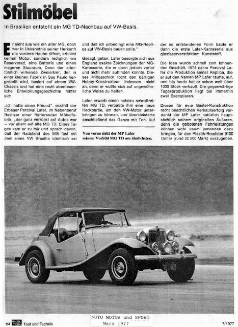 Página 114 digitalizada da revista alemã Auto Motor und Sport em sua edição de julho de 1977. Clique na imagem para ampliar.