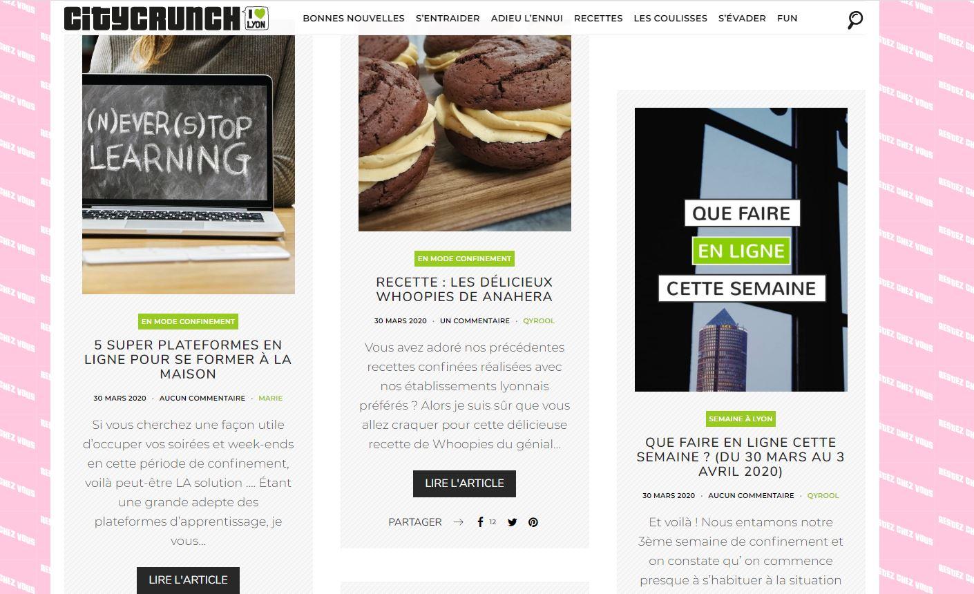 Le site web Lyon City Crunch
