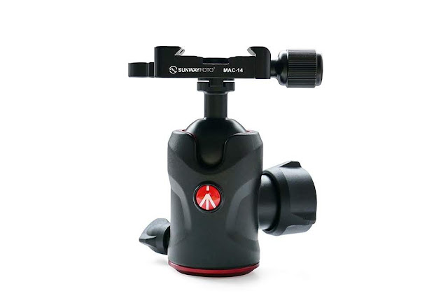 Manfrotto® MH492 Ball Head with Sunwayfoto MAP-02 and MAC-14 QR clamp