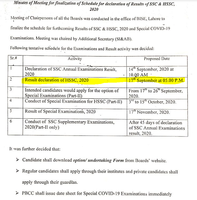 BISE LAHORE BOARD INTER FA FSC 2ND YEAR RESULTS 2020