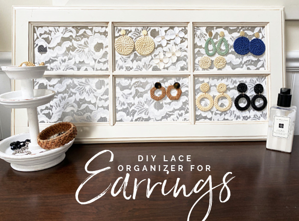 earring display on dresser with overlay