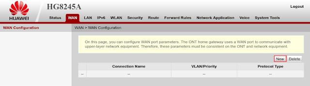 Konfigurasi WAN PPPoE modem ONT Huawei HG8245A