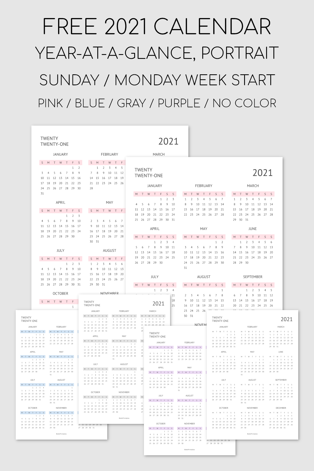 Printable 2021 Year-At-A-Glance Calendar
