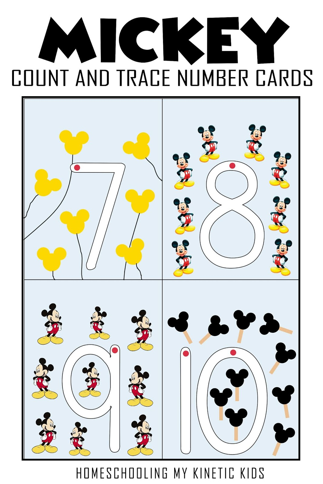 Mickey Count And Trace Number Cards