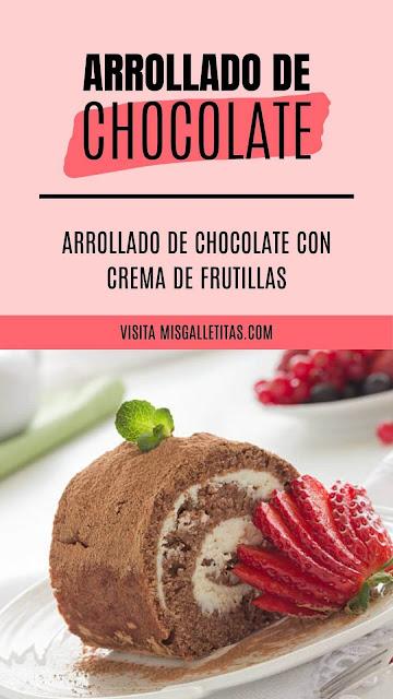 receta de arrollado de chocolate con crema de frutillas
