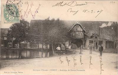 carte postale ancienne intérieur de ferme Corny Eure