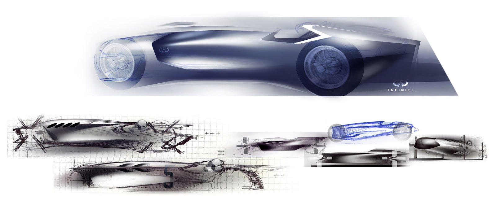 Infiniti Prototype 9 development sketches